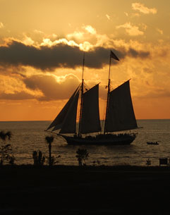 Schooner Wolf at Sunset